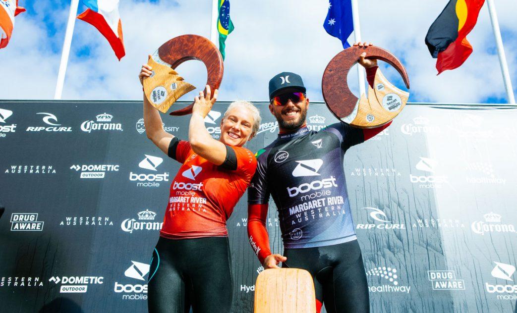 Tatiana Weston-Webb e Filipe Toledo, Boost Mobile Margaret River Pro 2021, Surfers Point, Western Australia, Austrália, Main Break, Swell, Big Waves, Ondas Grandes, WA, West Oz. Foto: WSL / Miers