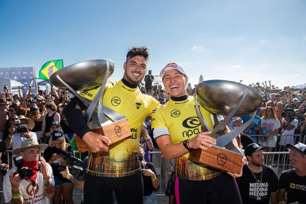 Gabriel Medina e Carissa Moore, Rip Curl WSL Finals 2021, Finalistas, Lower Trestles, San Clemente, Califórnia. Surf brasileiro. Foto: WSL / Nolan